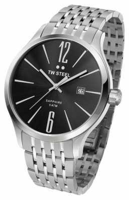 TW Steel Mens Slim Line Stainless Steel Black Dial Watch TW1306