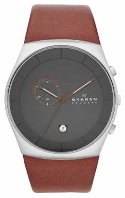 Skagen Mens Havene Brown Leather Strap Watch SKW6085