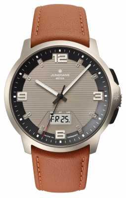 Junghans Mens Voyager Mega MF Titanium Brown Leather Watch 056/2304.00