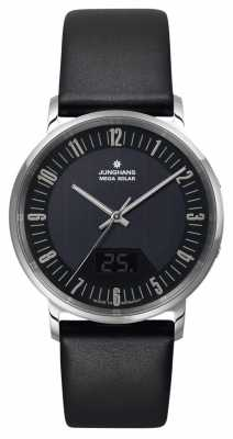Junghans Mens Milano Mega Solar Black Stainless Steel Watch 056/4221.00