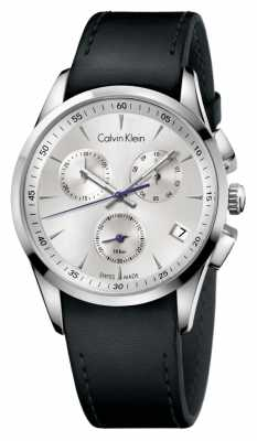 Calvin Klein Mens Bold Stainless Steel Black Leather Strap Watch K5A271C6
