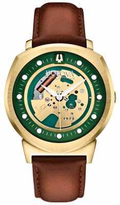 Bulova Mens Accutron II Gold Tone Skeleton Watch 97A110