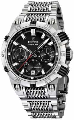Festina Mens Stainless Steel Black Dial Chronobike Watch F16774/4
