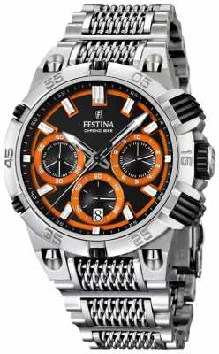 Festina Mens Chronobike Stainless Steel Black/ Orange Dial Chronograph F16774/6