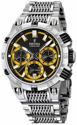 Festina Mens Chronobike Stainless Steel Black/ Yellow Dial Chronograph F16774/7