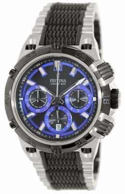 Festina Mens Chronobike 2014 Stainless Steel Black & Blue Watch F16775/5
