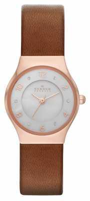 Skagen Ladies Grenen Brown Leather Strap Watch SKW2210
