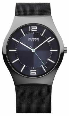 Bering Mens Ceramic, Mesh, Black IP, Round Dial 32039-227