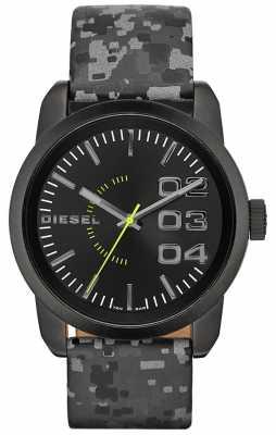 Diesel Mens Double Down Black IP Steel Black Dial Leather Watch DZ1664