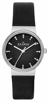 Skagen Ladies Ancher Black Leather Strap Watch SKW2193