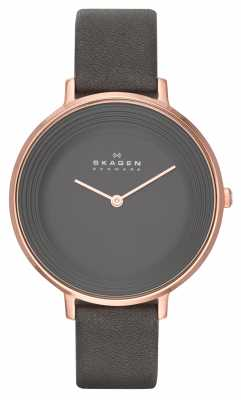 Skagen Ladies Ditte Grey Leather Strap Watch SKW2216