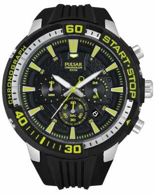 Pulsar Mens X Chronograph Black and Green PT3503X1