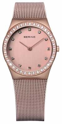 Bering Womens Mesh, Rose Gold Dial, Crystal 12430-366