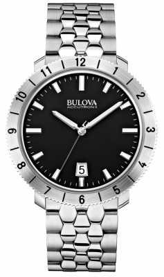 Bulova Mens Accutron II Moonview Stainless Steel Black Dial Watch 96B207