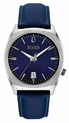 Bulova Mens Accutron II Stainless Steel Blue Leather Watch 96B212
