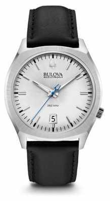 Bulova Mens Accutron II Stainless Steel Black Leather Watch 96B213