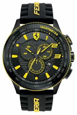 Scuderia Ferrari Chronograph Watch In Black With Yellow Accent 0830139