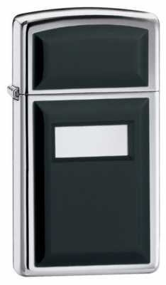 Zippo Slim Ultralite Black Emblem Lighter High Polish Chrome Finish ZIPPO-1655
