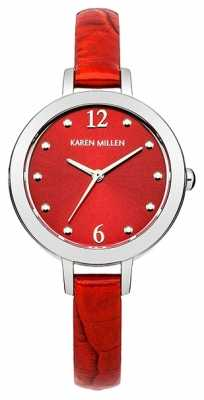 Karen Millen Womens Silver Tone Watch With Red Dial KM152R