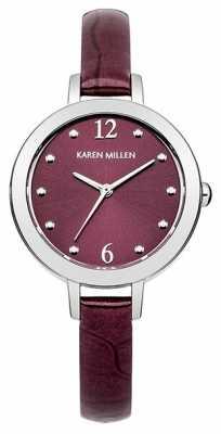 Karen Millen Silver Tone Watch With Violet Dial KM152V