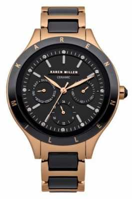Karen Millen Womens Rose Gold, Ceramic Crystal Watch KM101RGMX
