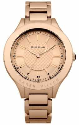 Karen Millen Womens Rose Gold, Crystal Watch KM101RGMX