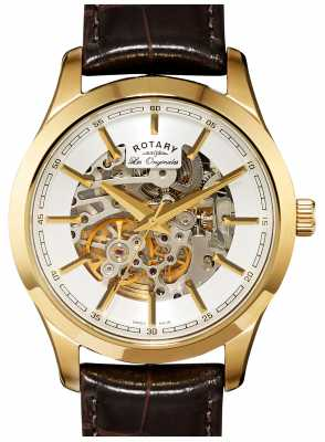 Rotary Mens Jura Automatic Gold Plate Brown Leather Watch GS90526/06