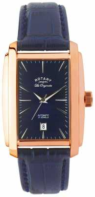 Rotary Mens Originales Rectangle, Blue & Rose Gold LE90014/05