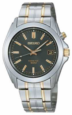 Seiko Mens Two-Tone Black Dial Bracelet Watch SKA271P1