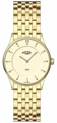Rotary Womens Ultra Slim Gold Plate Champagne Dial Watch LB08203/03