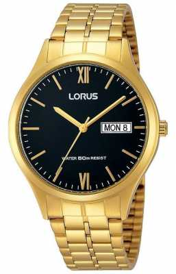 Lorus Mens Gold Watch With Day And Date RXN06DX9