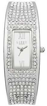 Lipsy Ladies Silver Curved Crystal Encrusted Watch LP119