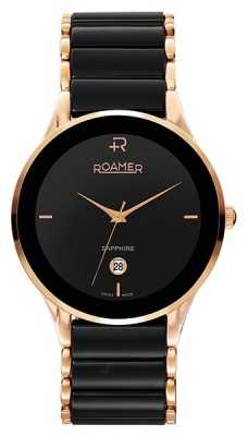 Roamer Mens Sapphire Black Ceramic and Rose Gold Watch 677972495560