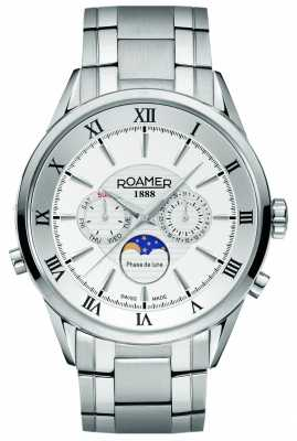 Roamer Mens Moonphase Stainless Steel White Dial Watch 508821411350