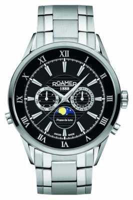 Roamer Mens Moonphase Stainless Steel Black Dial Watch 508821415350