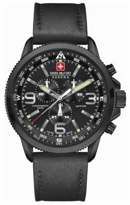 Swiss Military Hanowa Mens Arrow Black IP Steel Black Leather Chrono 6-4224.13.007