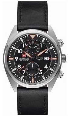 Swiss Military Hanowa Mens Airborne Black Dial Black Leather Watch 6-4227.04.007