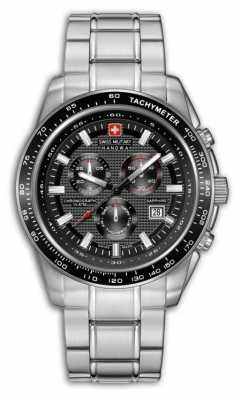 Swiss Military Hanowa Mens Crusador Stainless Steel Black Dial Chronograph 6-5225.04.007