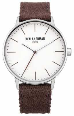 Ben Sherman Mens Burgundy Cotton Strap Watch WB009P