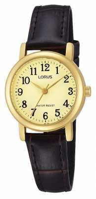 Lorus Womens Brown Leather Quartz Watch RRS56UX9