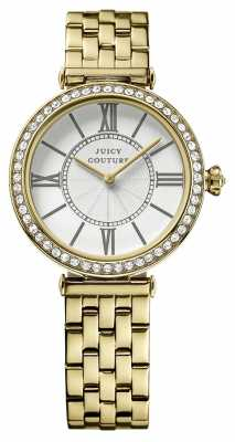 Juicy Couture Womens J, Gold Plate, Silver Dial Watch 1901127