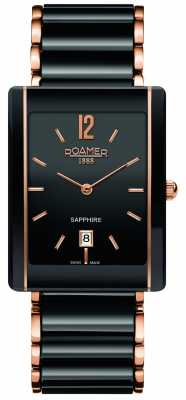 Roamer Ceraline Saphira Black Ceramic Rose Gold Watch 690856495460