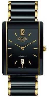 Roamer Unisex Ceraline Saphira Black Ceramic Gold Watch 690856485460