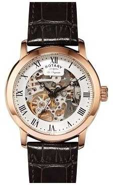 Rotary Mens Jura Automatic Rose Gold Black Detail Leather Watch GS90537/21