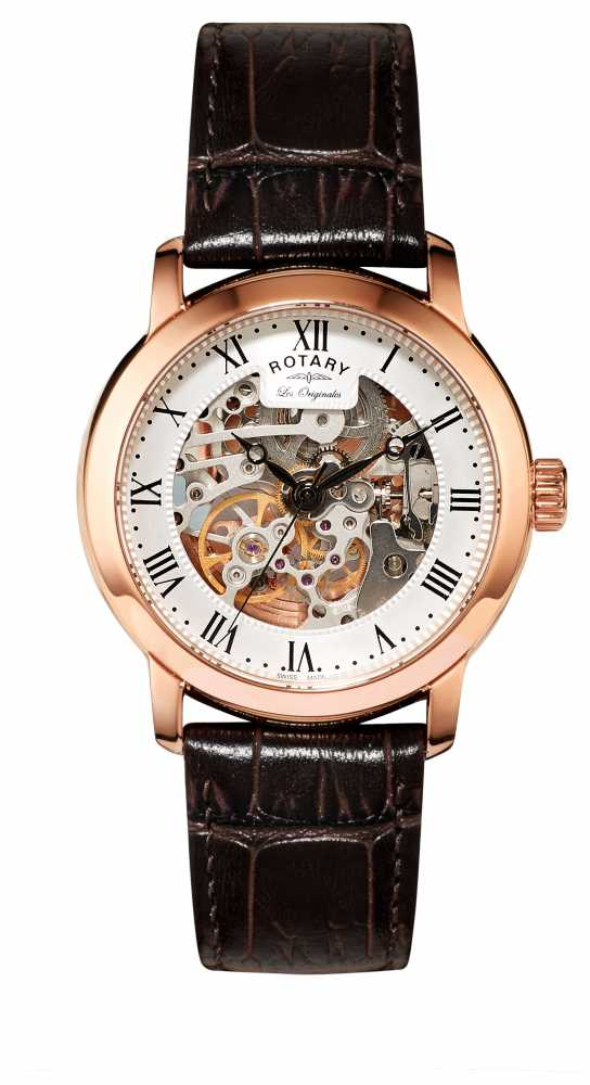 rotary mens jura automatic rose gold watch gs90537 21 rotary gs90537 21