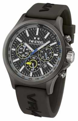 TW Steel Mens VR46 Black IP Steel Black Rubber Strap Chrono TW0935