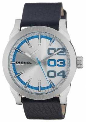 Diesel Mens Double Down White Dial Blue Accent Black Leather Watch DZ1676
