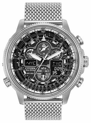 Citizen Mens Navihawk A-T Stainless-Steel Black Dial Watch JY8030-83E