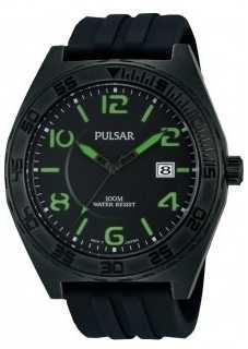 Pulsar Mens Black Rubber Quartz Analog Watch PS9317X1