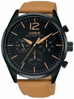 Lorus Mens Brown Chronograph Watch RX411AX9